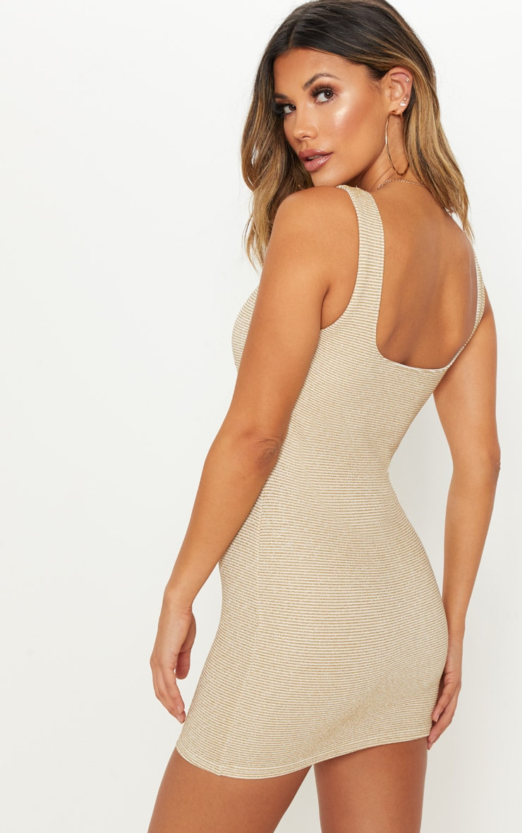 Gold Metallic Rib Bodycon Dress 2