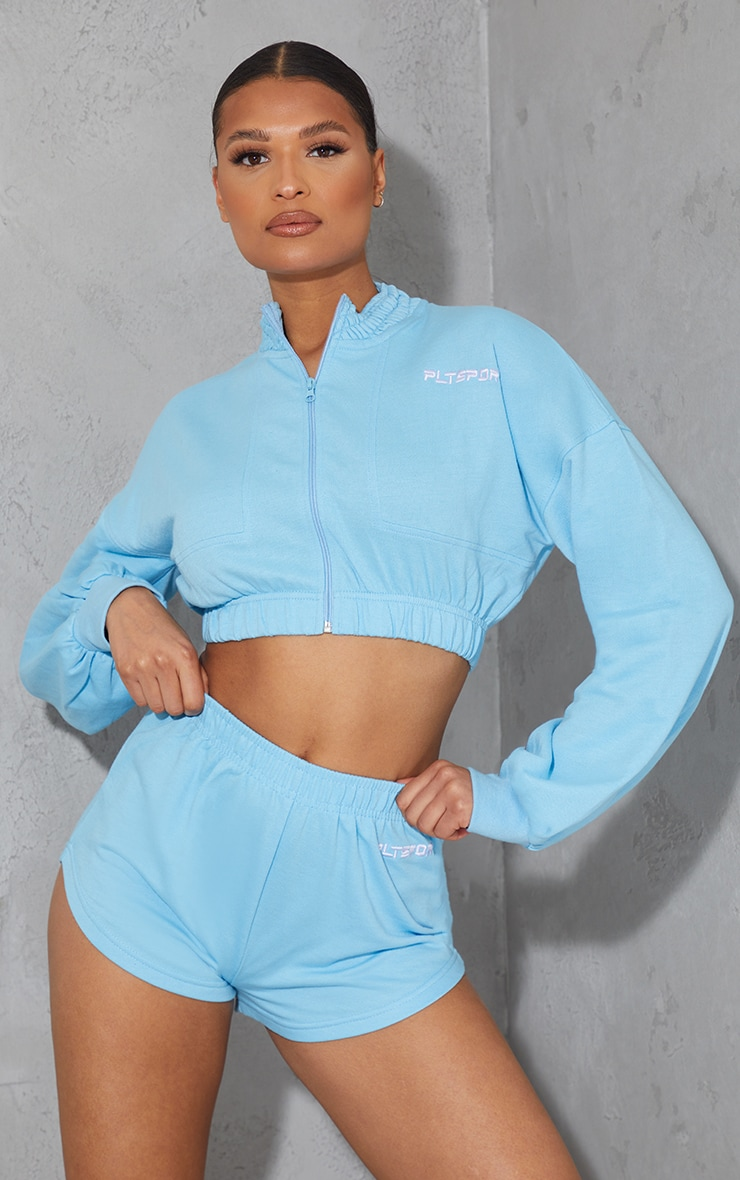 PRETTYLITTLETHING Blue Embroidered Cropped Zip Up Sweat 1