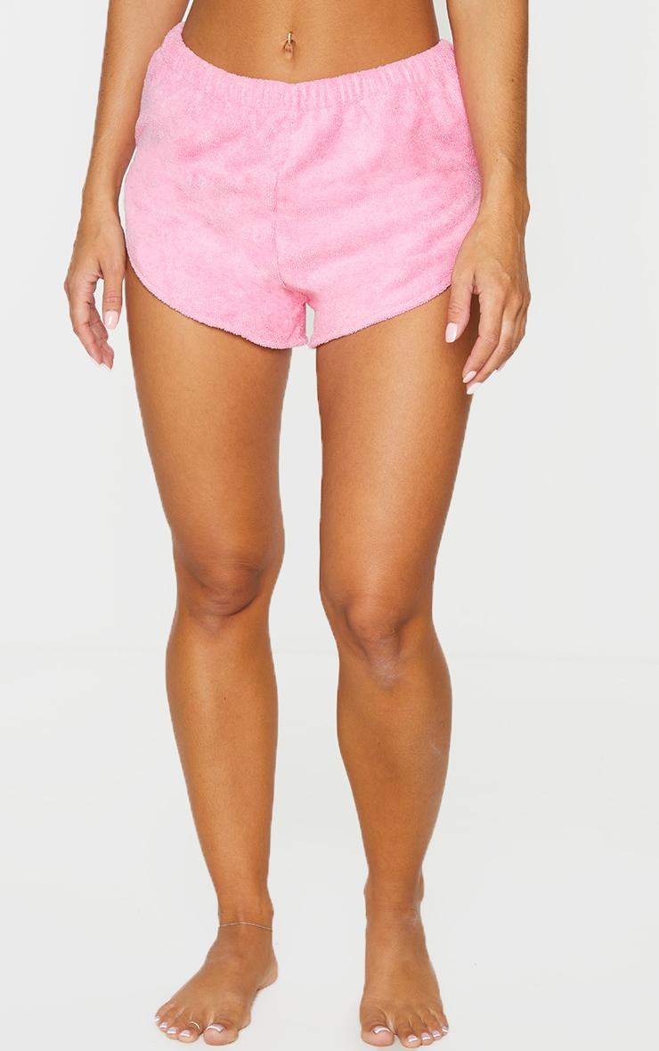 Pink Chunky Towel Beach Shorts   2