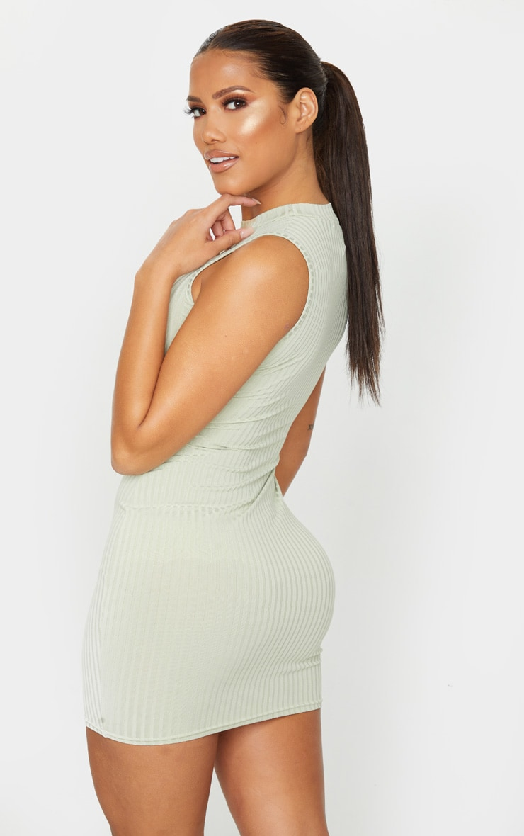 Shape Sage Green Rib Bust Detail Bodycon Dress 2