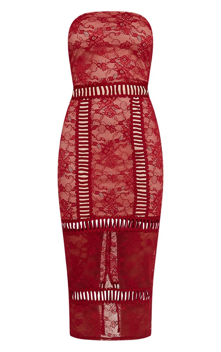 Megan Red Ladder Panel Lace Midi Dress 3