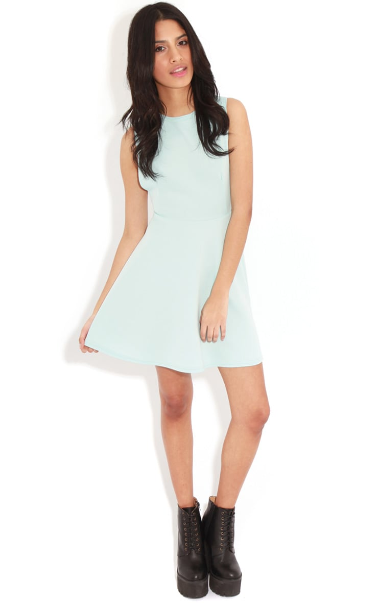 Arianna Baby Blue Scuba Side Slit Skater Dress 3
