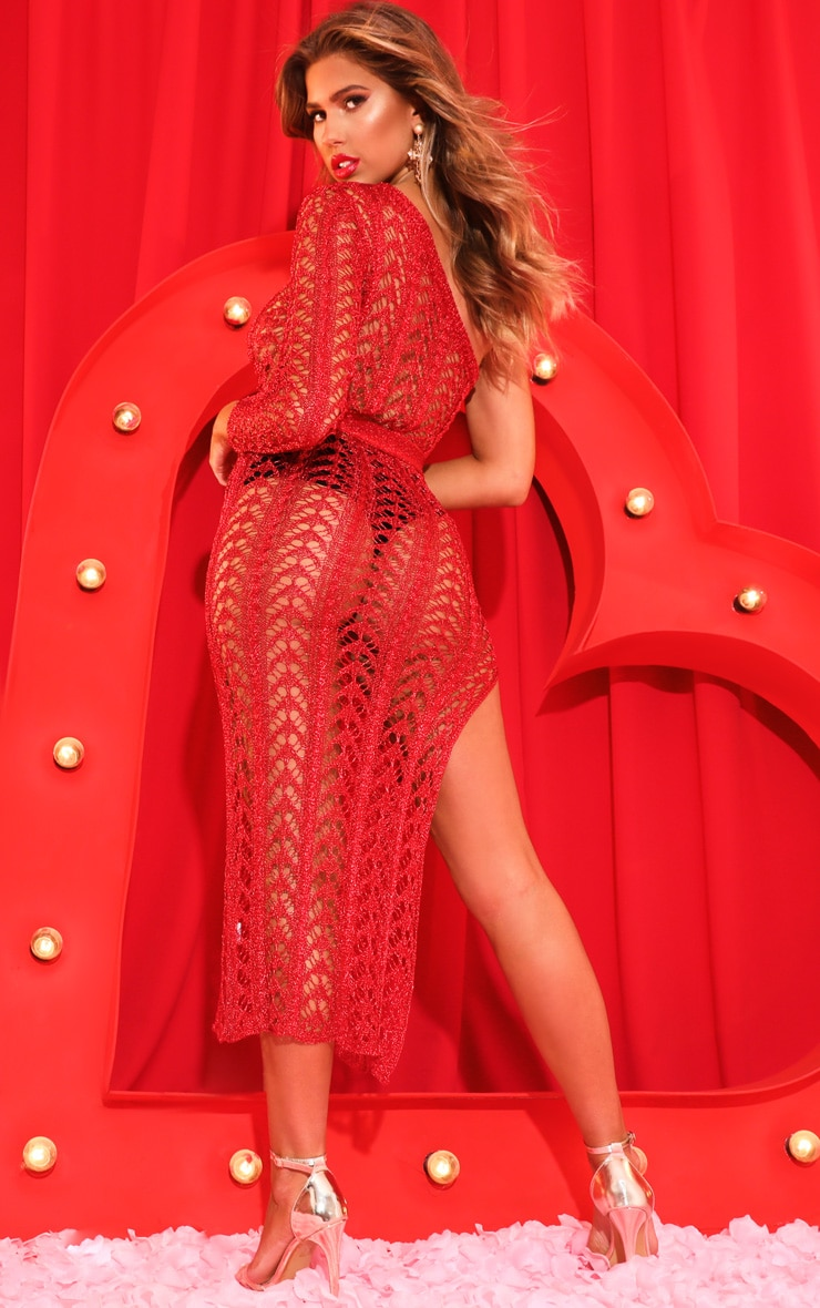 Red Metallic Knitted One Shoulder Midi Dress 2