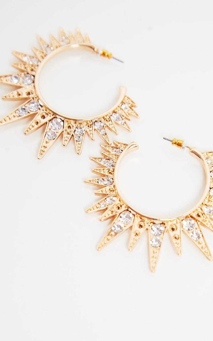 Gold Diamante Spikey Edged Drop Hoops 3