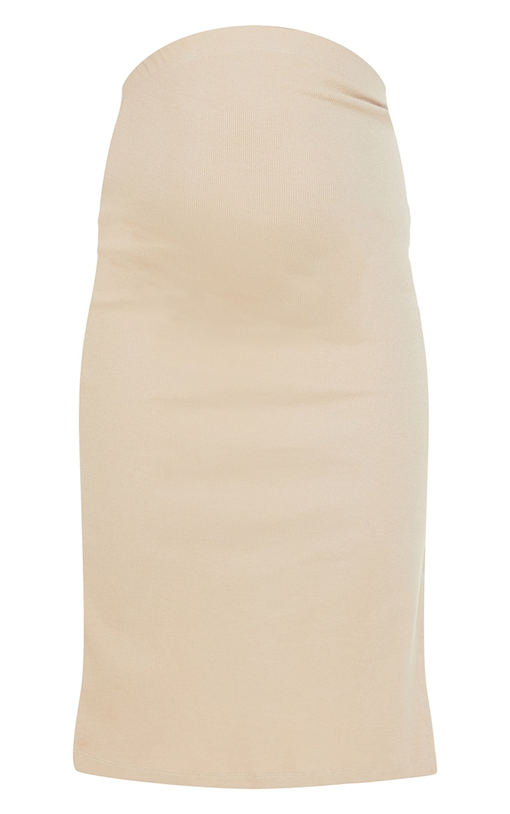 Maternity Stone Over Bump Rib Midi Skirt 5