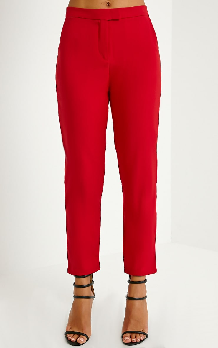 Luana Red Woven Trousers - Trousers