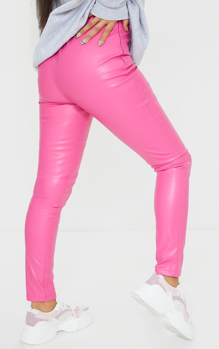 Hot Pink Faux Leather Stretch Leggings 3