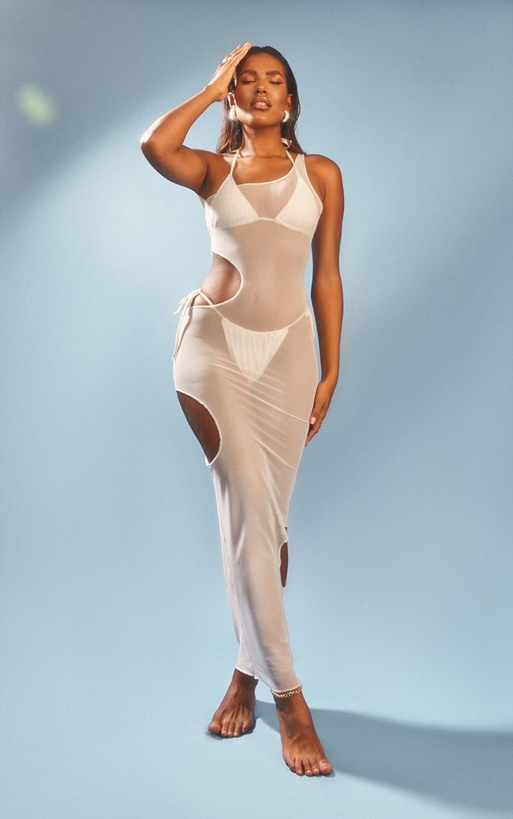 White Sleeveless Cut Out Maxi Dress 1