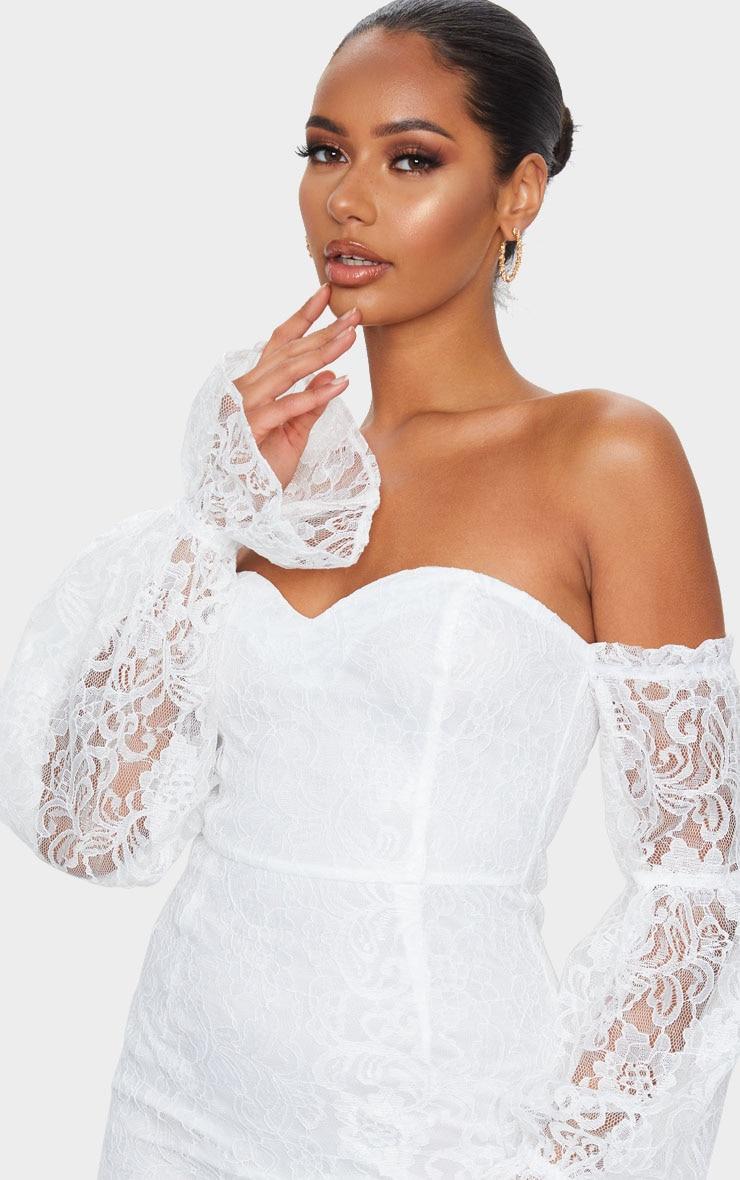 White Lace Bardot Puff Sleeve Bodycon Dress 4