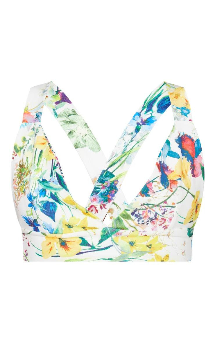 Bralette cache-coeur à imprimé floral multicolore 3