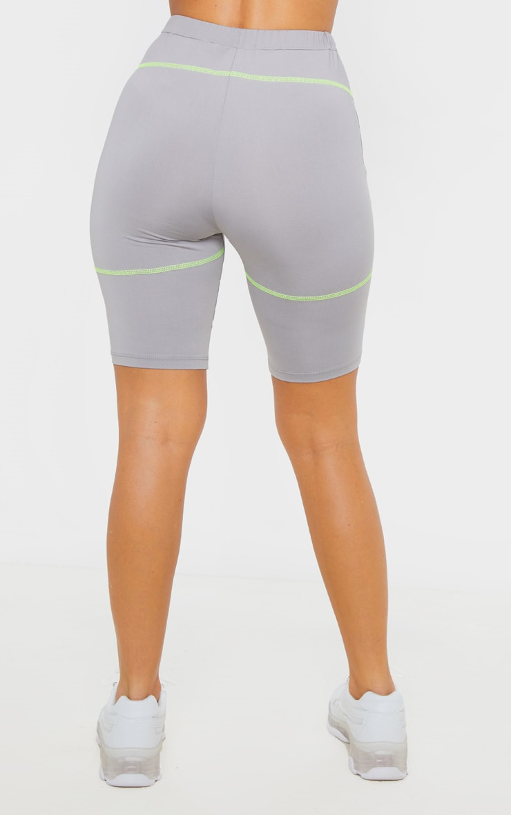 Grey Contrast Stitch Cycle Short 4