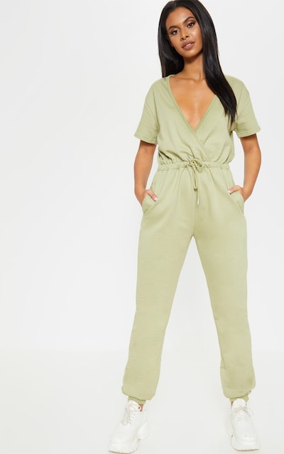 Sage Green Wrap Front Short Sleeve Sweat Jumpsuit