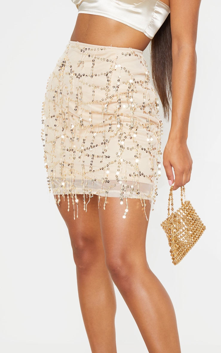 Gold Sequin Detail Mini Skirt  6
