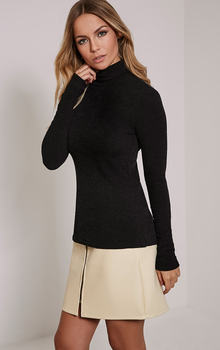 Delty Black Knitted Rib Turtle Neck Top 1