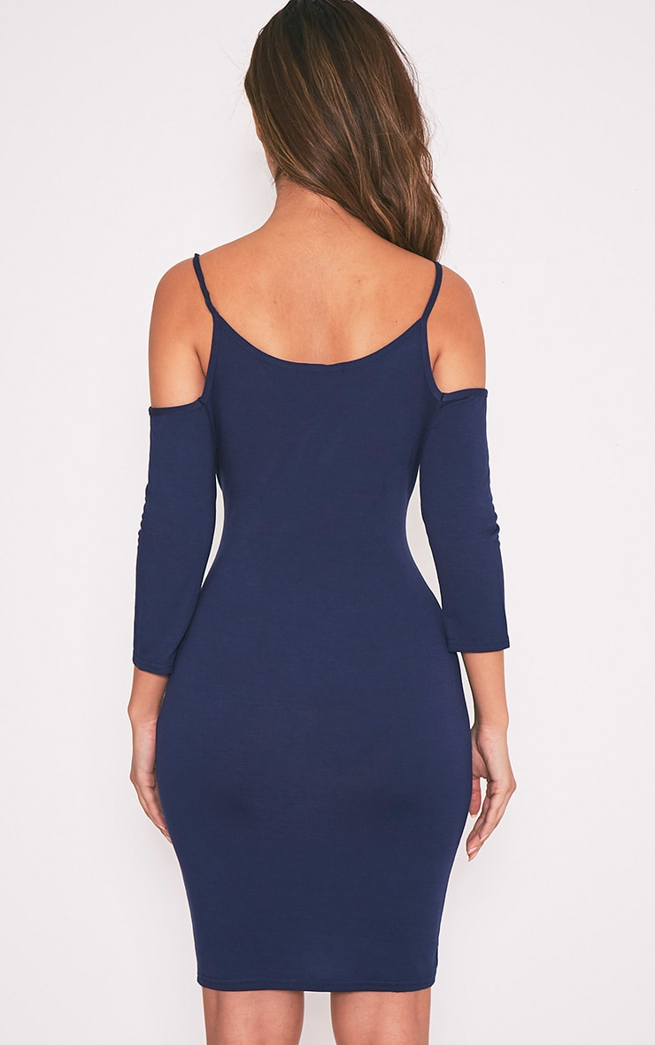 Kaleah Navy Cold Shoulder Bodycon Dress 3