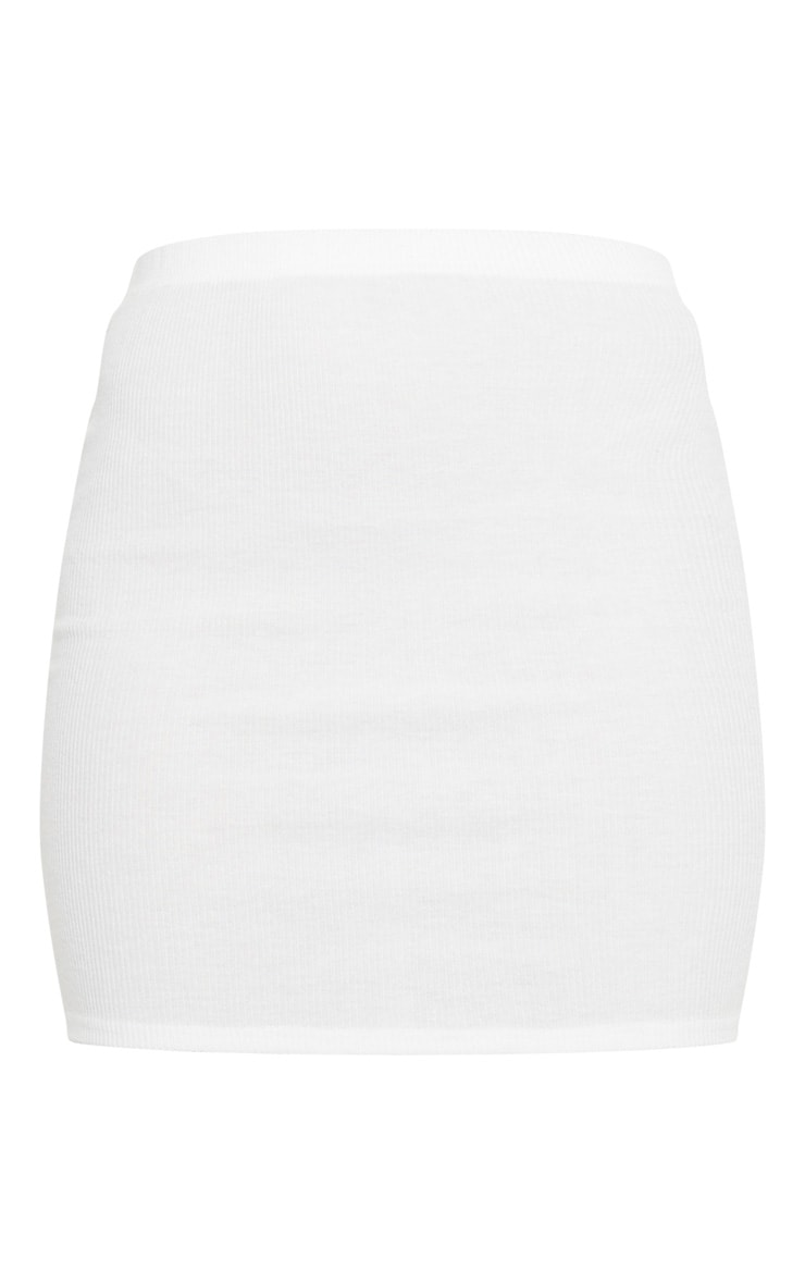 Cream Soft Brushed Rib Mini Skirt 7