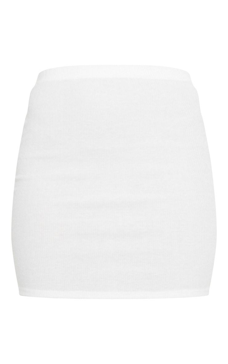 Mini-jupe crème en maille côtelée brossée douce 7