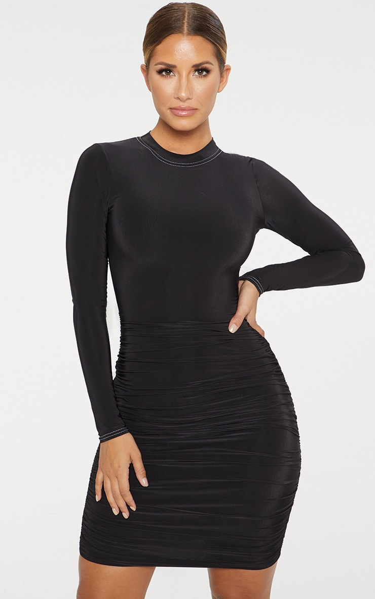 Black Slinky Long Sleeve Contrast Stitch Ruched Bodycon Dress 1