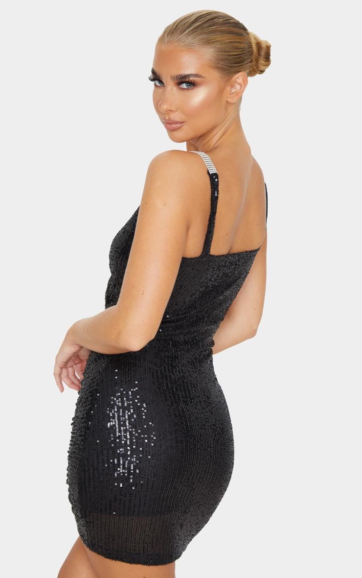 Black Diamante Buckle Sequin Bodycon Dress 2