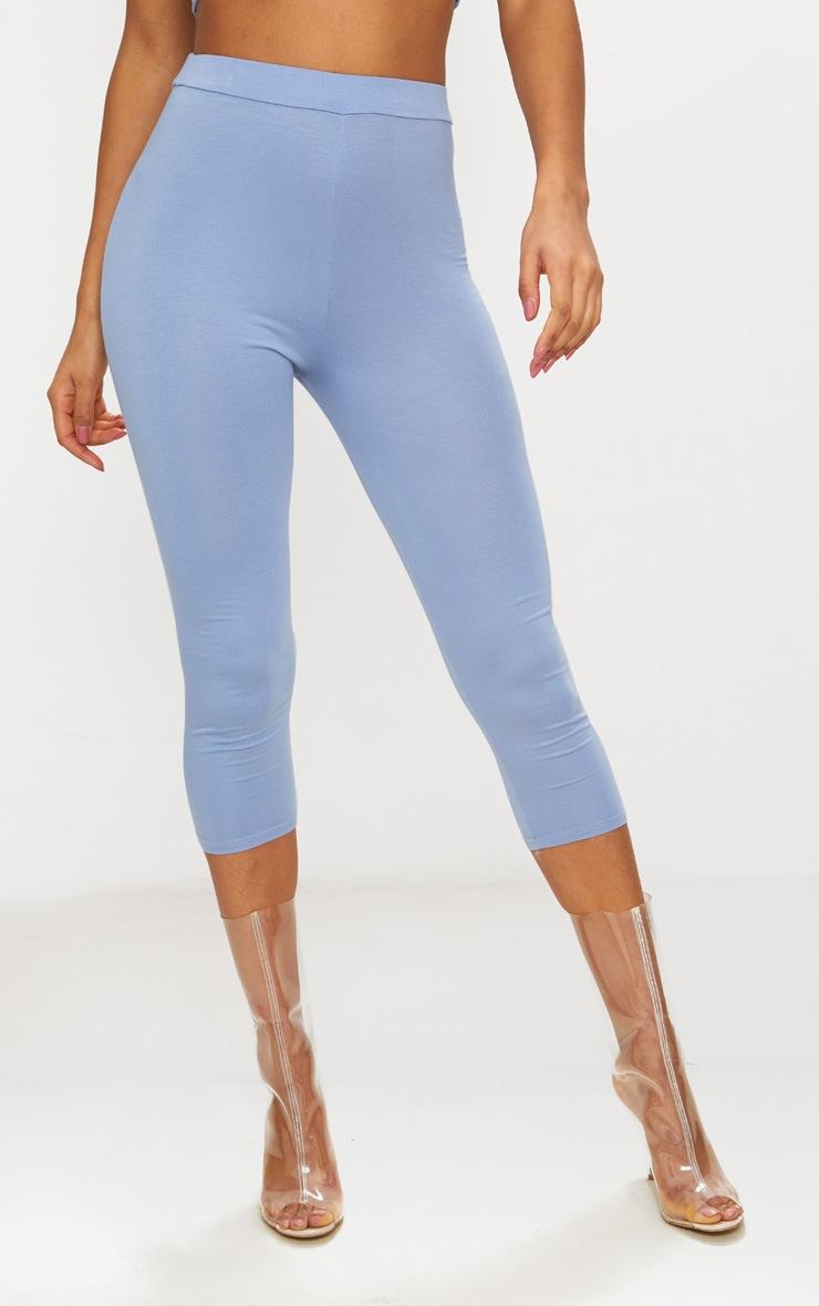 Dusty Blue Basic Cropped Jersey Leggings  2