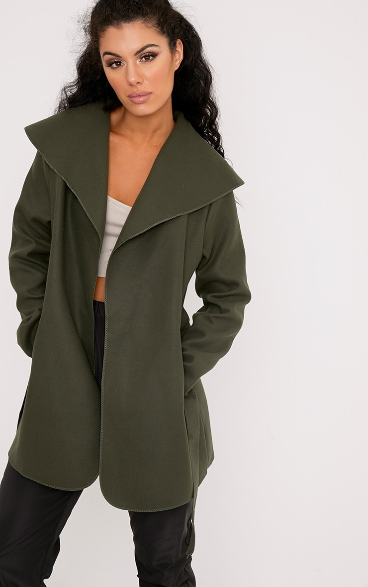 Irinie Khaki Waterfall Belted Coat 1