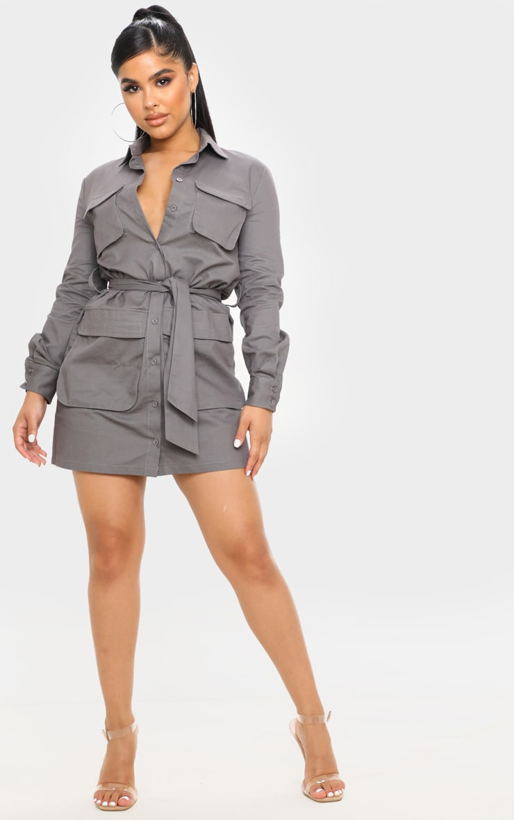 Petite Charcoal Utility Tie Waist Shirt Dress  4