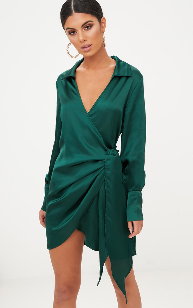 Emerald Green Satin Deep Cuff Wrap Front Shift Dress 1