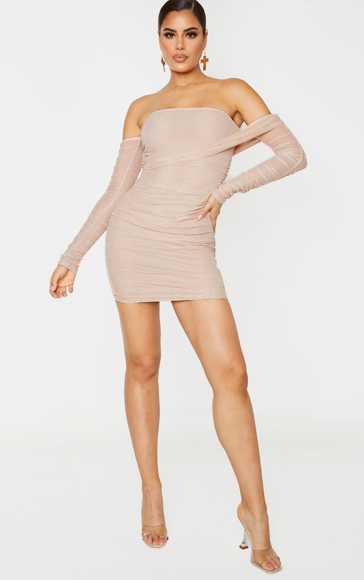 Tall Stone Mesh Wrap Bodycon Dress 4