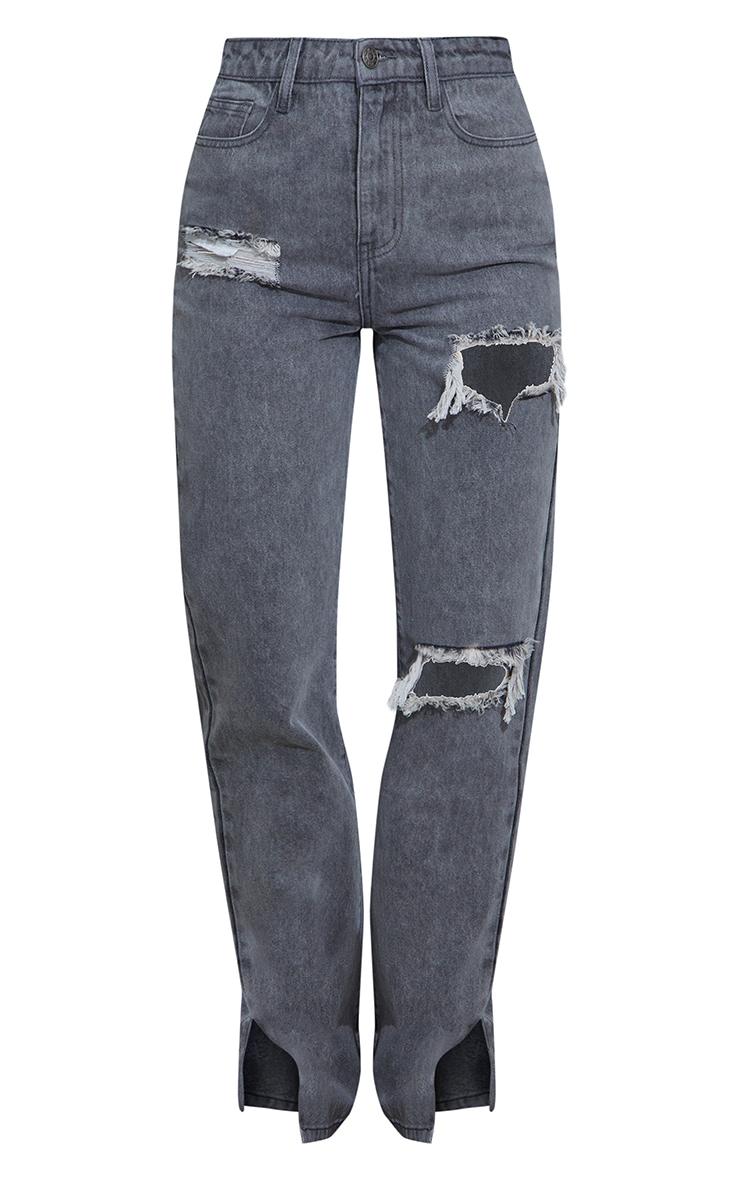 Washed Grey Ripped Split Hem Jeans 5