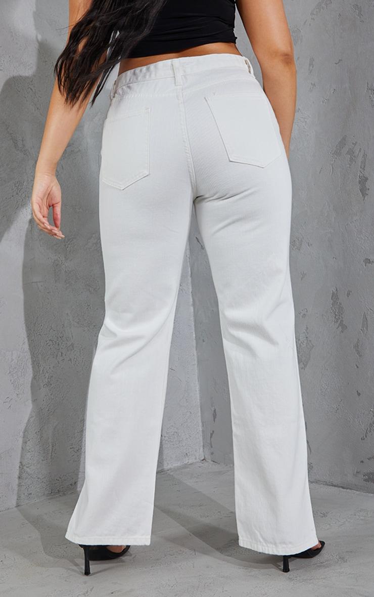 Plus White Split Hem Jeans 3