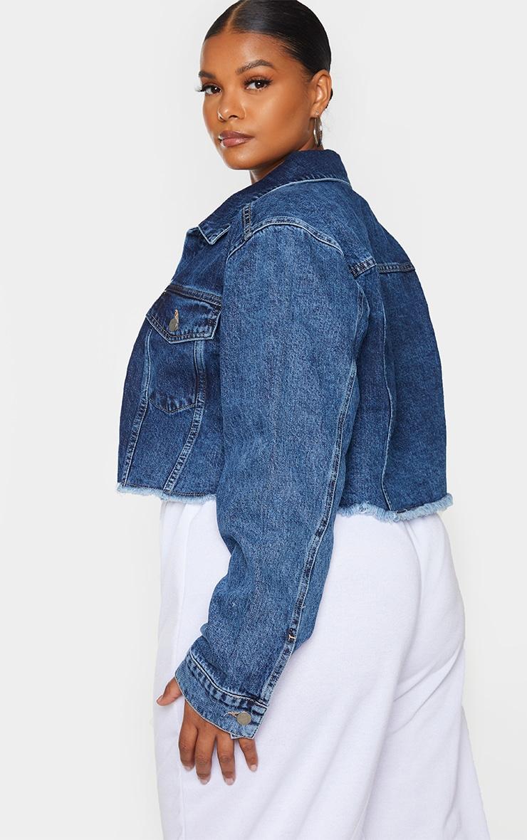 Plus Mid Blue Washed Denim Crop Jacket 2