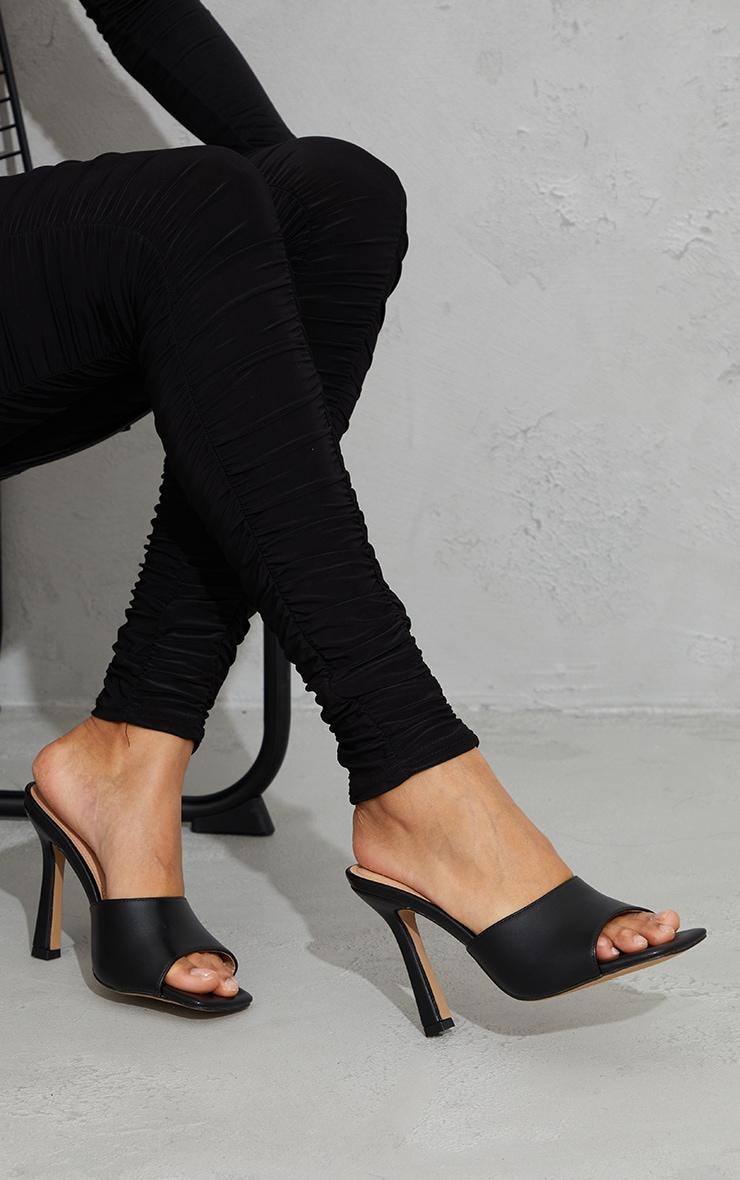 Black Wide Fit Square Toe Mule High Heels 2