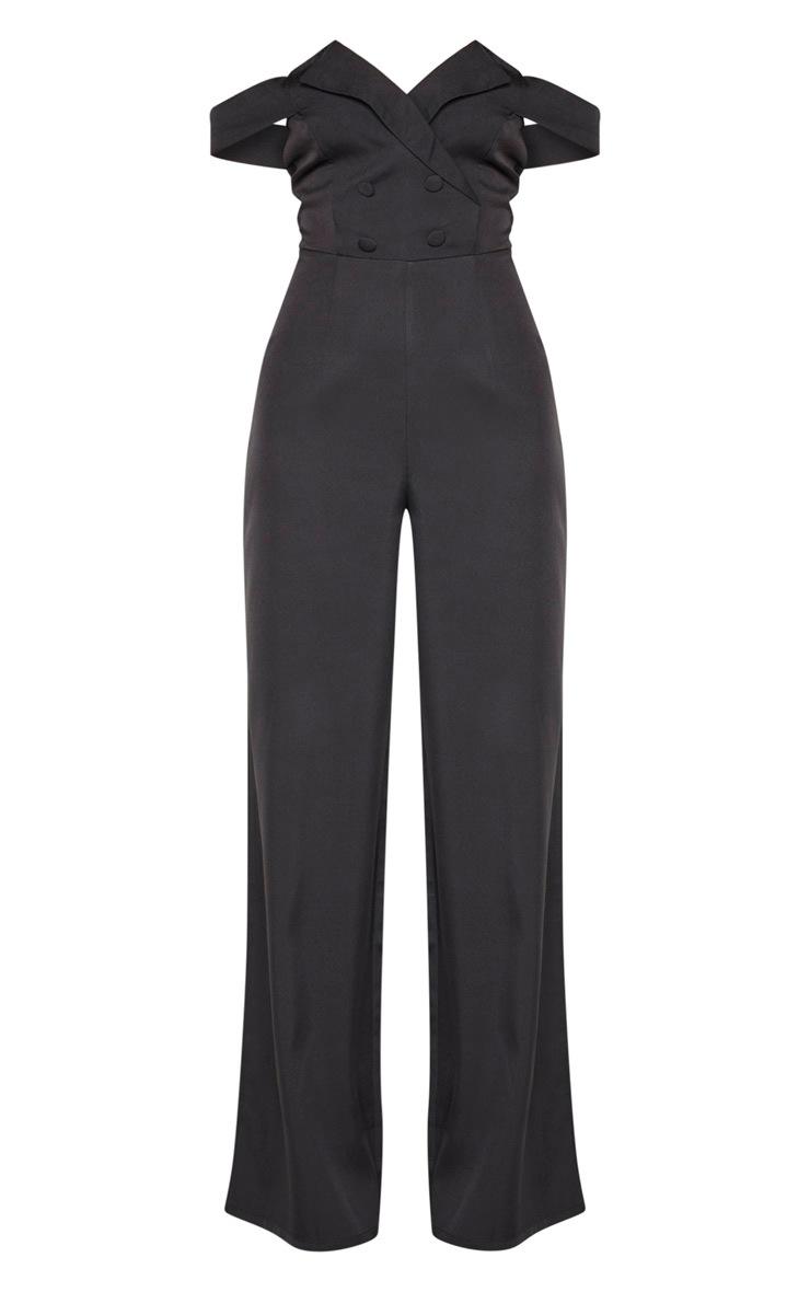 Black Button Detail Bardot Wide Leg Jumpsuit 3
