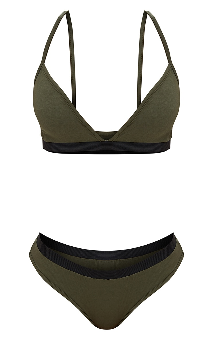 Basic Khaki Jersey Bra and Knicker Set 3