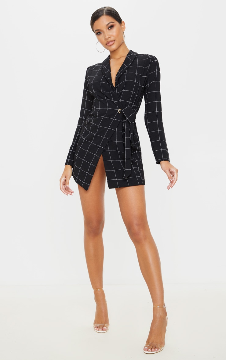 Black Checked Long Sleeve Blazer Dress 4
