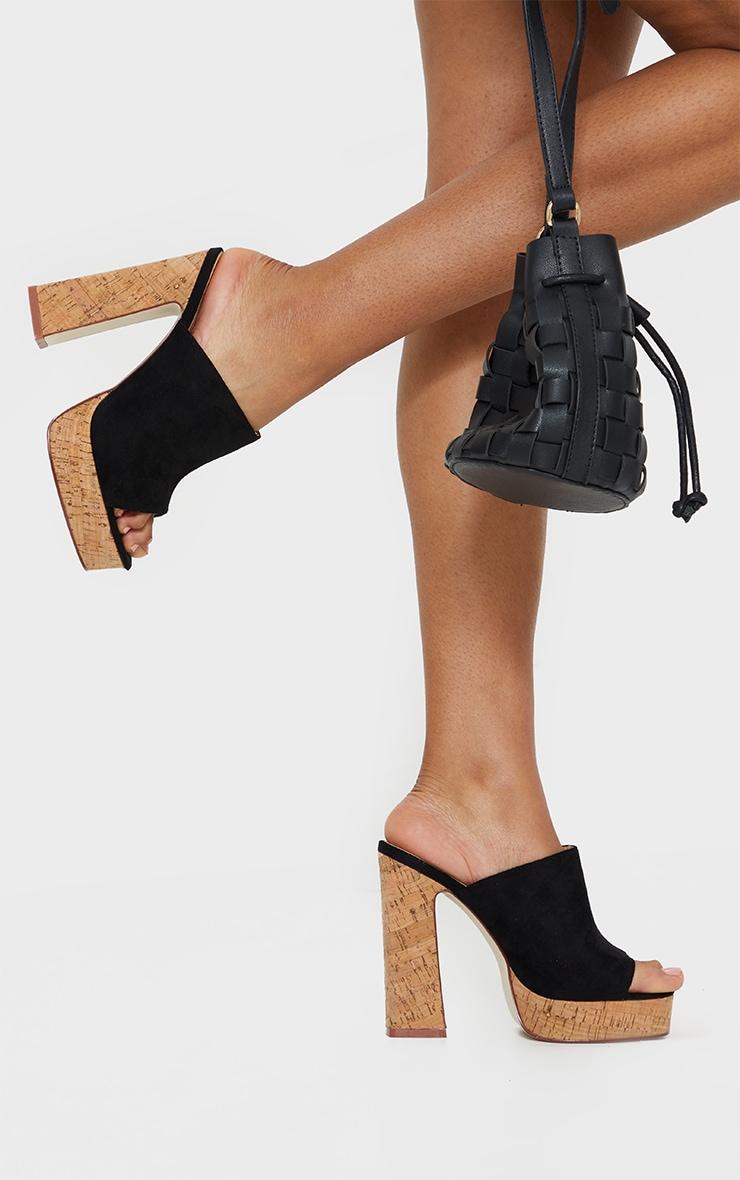 Black Cork Mule High Platform Sandals 2