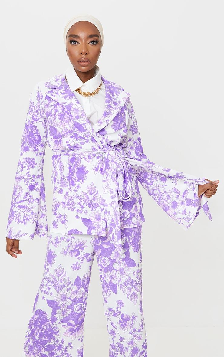 Multi Paisley Crepe Flare Sleeve Tie Jacket 1