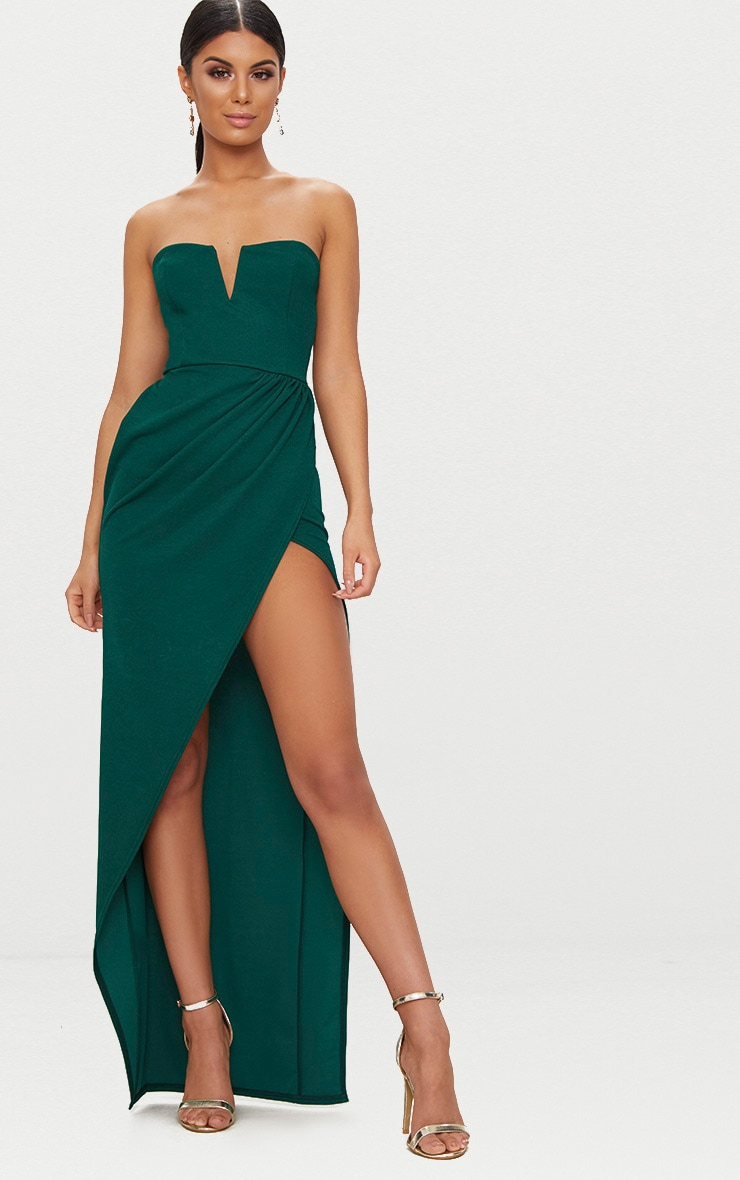 Emerald Green Bandeau V Bar Wrap Detail Maxi Dress