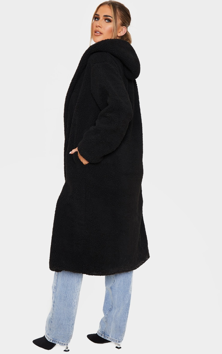 Black Borg Hooded Midi Coat 2