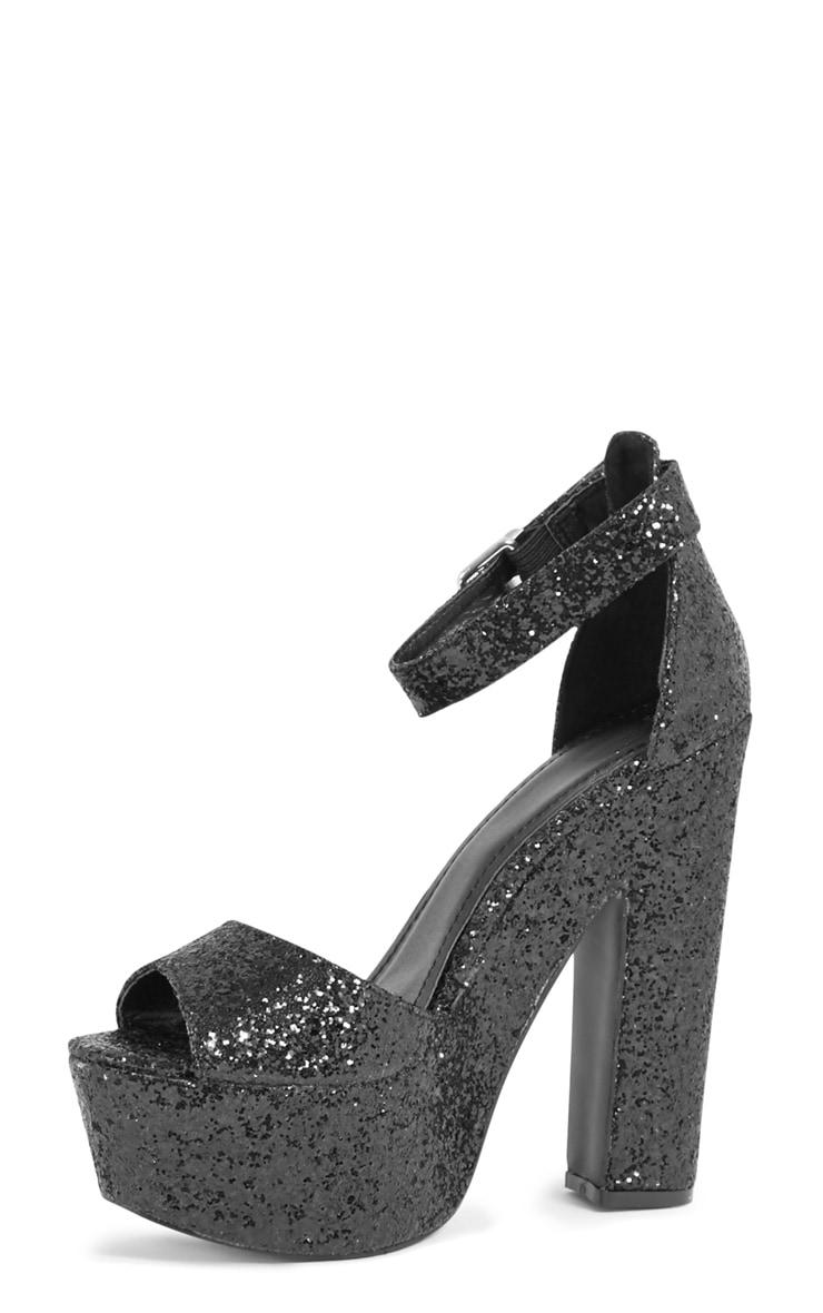 Effie Black Glitter Strappy Heeled Sandals  3