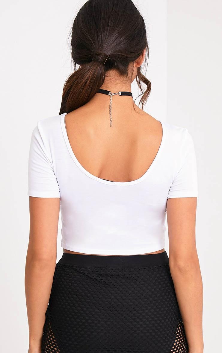 Basic White Scoop Back Crop T Shirt 2