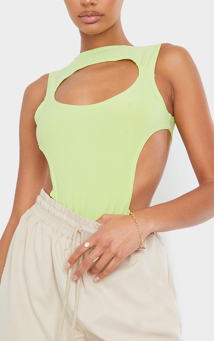 Lime Slinky Front Cut Out Racer Bodysuit 4