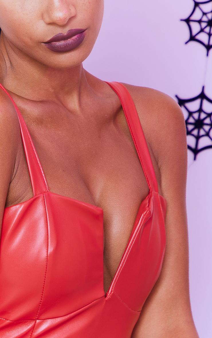 Red Faux Leather V Plunge Sleeveless Midi Dress 4