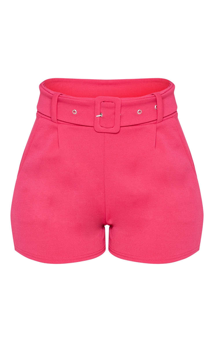 Bright Pink Belted Tailored Short 4