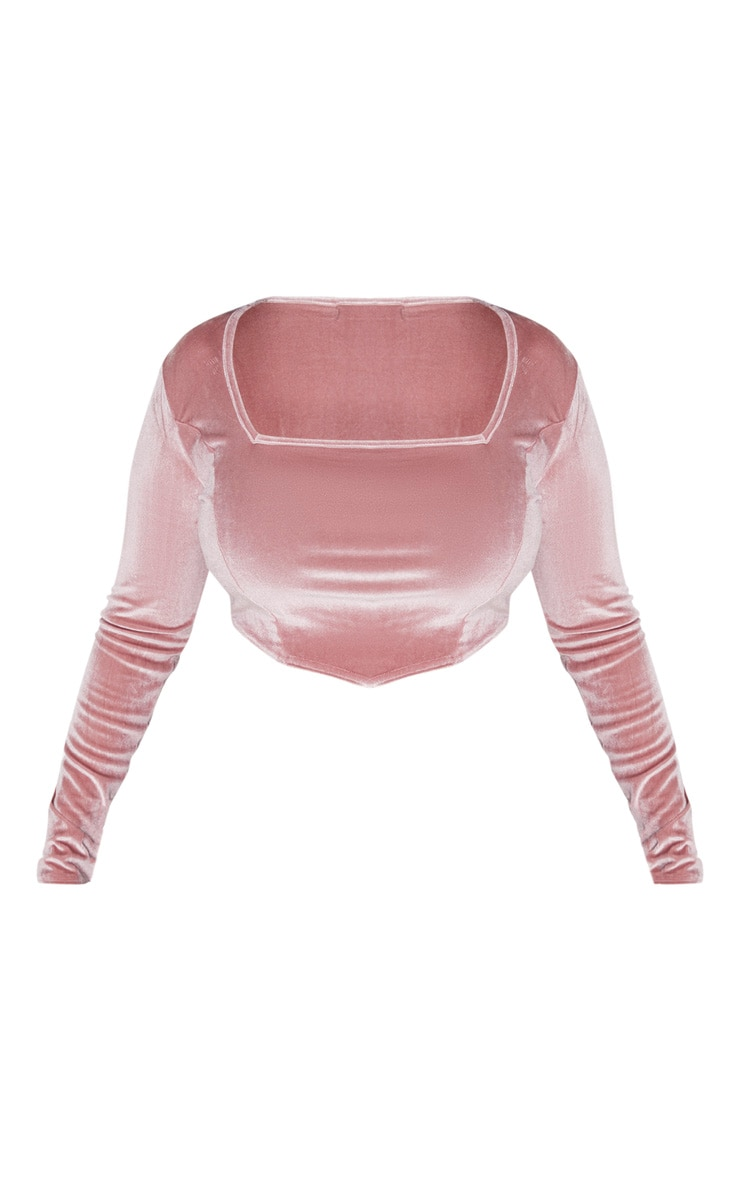 Plus Dusty Pink Velvet Long Sleeve Square Neck Crop Top 3