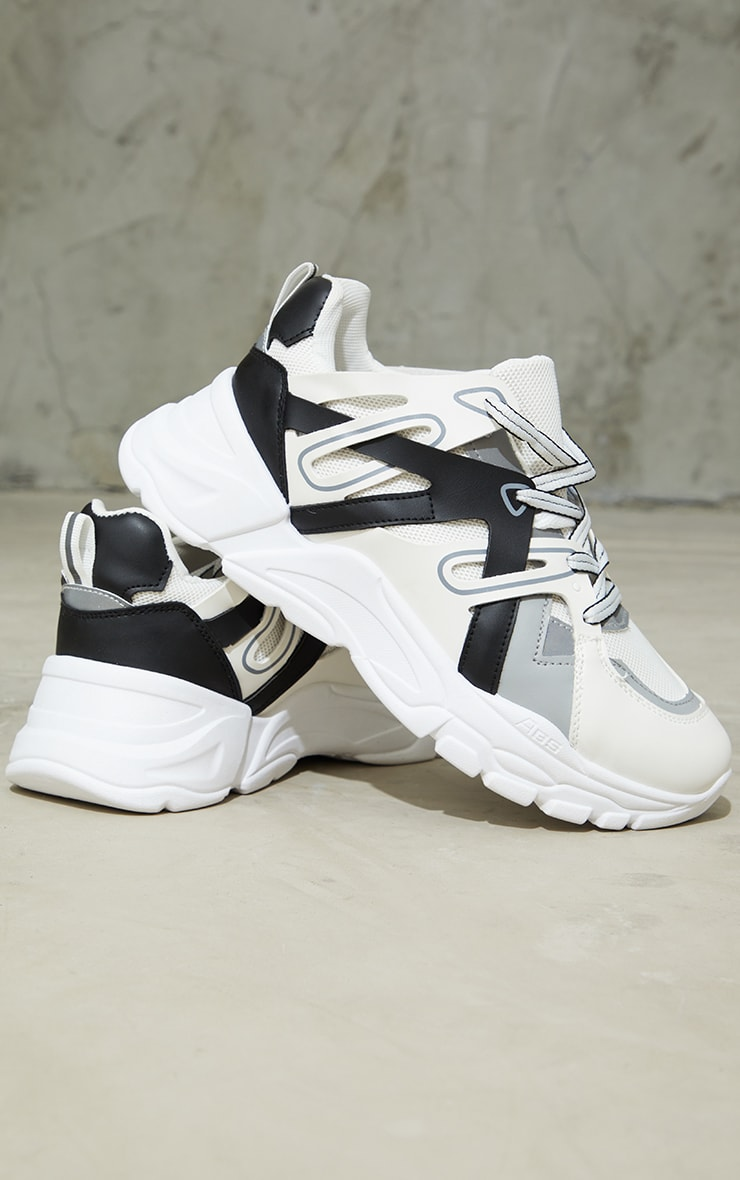 Monochrome Chunky Panelled Trainers 4