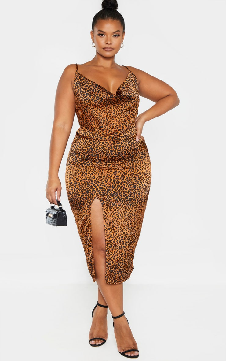 Plus Leopard Print Strappy Satin Cowl Midi Dress  1