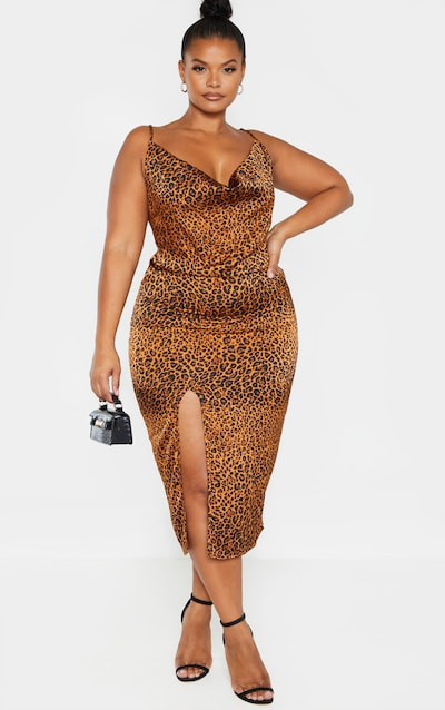 Plus Leopard Print Strappy Satin Cowl Midi Dress