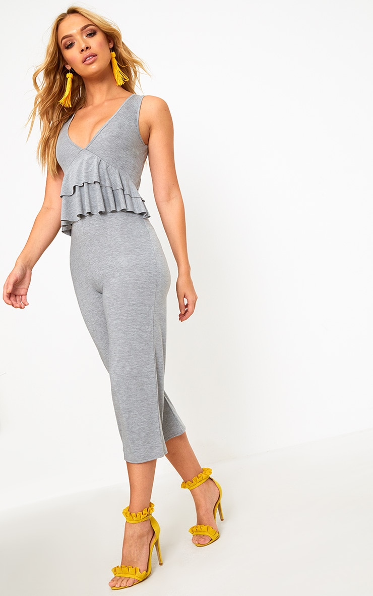 Grey Marl Frill Front Culotte Jumpsuit 1