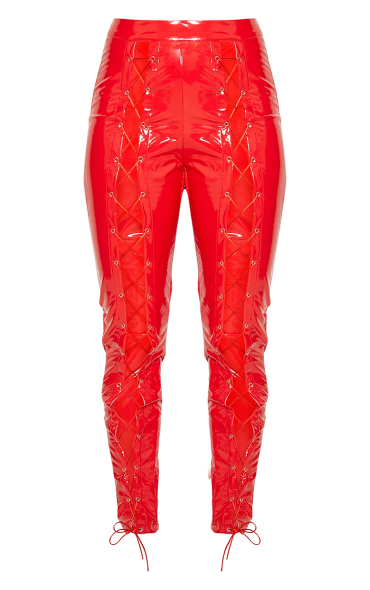 Red Vinyl Lace Up Detail Trouser 3